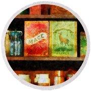 Spices On Shelf Round Beach Towel by Susan Savad