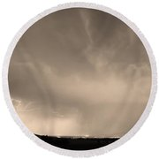 Spider Lightning Above Haystack Boulder Colorado Sepia Round Beach Towel by James BO  Insogna