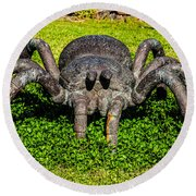 Spider Sculpture Round Beach Towel