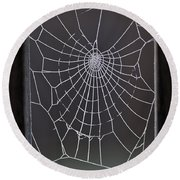 Spider Web With Frost Round Beach Towel