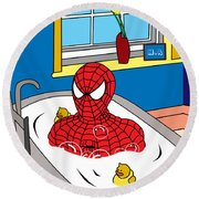 Spiderman  Round Beach Towel by Mark Ashkenazi