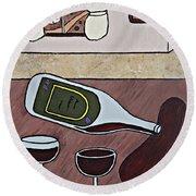 Essence Of Home - Spilt Wine Bottle Round Beach Towel