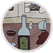 Essence Of Home - Spilt Wine Round Beach Towel