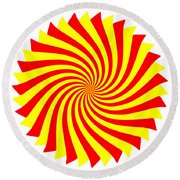 Spin Right On White Round Beach Towel