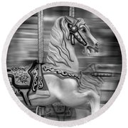 Spinning Horses Round Beach Towel