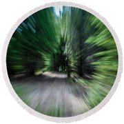 Spinning Through The Woods Round Beach Towel