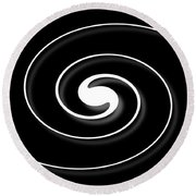 Spiral Black Round Beach Towel
