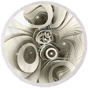 Spiral Mania 2 - Black And White Round Beach Towel