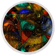 Spiral Stained Glass Round Beach Towel