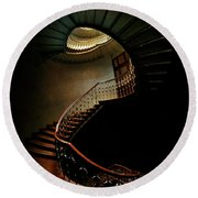 Spiral Staircase In Green And Red Round Beach Towel