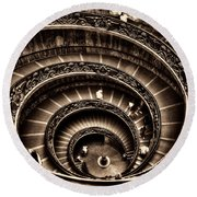 Spiral Staircase No1 Sepia Round Beach Towel