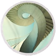Spiral Stairs In Pastel Tones Round Beach Towel