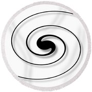 Spiral White Round Beach Towel