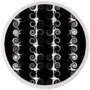 Spirals And Swirls Black And White Pattern  Round Beach Towel