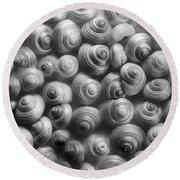 Spirals Black And White Round Beach Towel by Priska Wettstein