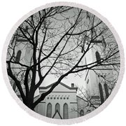 Spire Tree Round Beach Towel