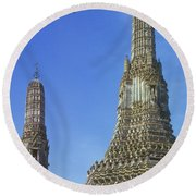 Spires Of The Temple Of Dawn Round Beach Towel