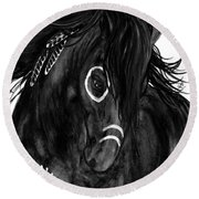 Spirit Feathers Horse Round Beach Towel