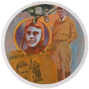 Lindbergh, Spirit Of St. Louis Round Beach Towel