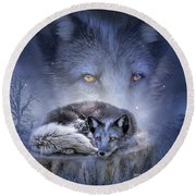 Spirit Of The Blue Fox Round Beach Towel