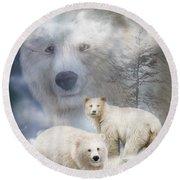 Spirit Of The White Bears Round Beach Towel