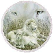 Spirit Of The White Lions Round Beach Towel