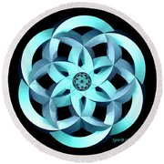 Spirit Of Water 1 - Blue Round Beach Towel