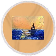 Spirits Rise As The Sails Fill Round Beach Towel