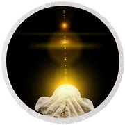 Spiritual Healing Light In Cupped Hands On Black Round Beach Towel