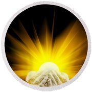 Spiritual Light In Cupped Hands Round Beach Towel