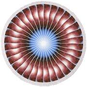 Spiritual Pulsar Kaleidoscope Round Beach Towel by Derek Gedney