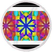 Spirituality - Life Lights - Kaleidoscope - Triptych Round Beach Towel