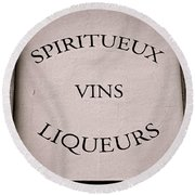 Spiritueux Vins Liqueurs Round Beach Towel