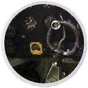 Spitfire Cockpit Round Beach Towel by Adam Romanowicz