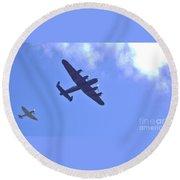 Spitfire  Lancaster Bomber Round Beach Towel