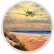 Spitfire Mk9 - Over South Coast England Round Beach Towel