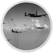 Spitfires Escorting Lancasters Black And White Version Round Beach Towel