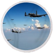 Spitfires Escorting Lancasters Round Beach Towel
