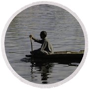 Splashing In The Water Caused Due To Kashmiri Man Rowing A Small Boat Round Beach Towel