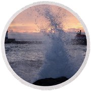 Splashy Sunrise Round Beach Towel