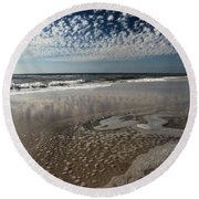 Splattered Clouds Round Beach Towel by Adam Jewell