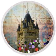 Splattered County Courthouse Round Beach Towel