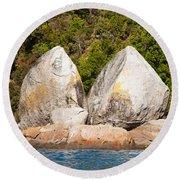 Split Apple Rock Near Abel Tasman Np In New Zealand Round Beach Towel