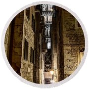 Split Cathedral From The Temple Of Jupiter At Night Croatia Round Beach Towel
