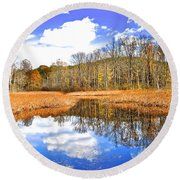 Split Down The Middle Round Beach Towel