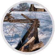 Split Rail And Nation Round Beach Towel