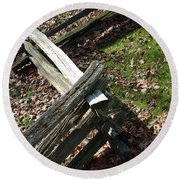 Split Rail Fence Round Beach Towel