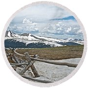 Split Rail Fence Near Alpine Visitor's Center In Rocky Mountain Np-co Round Beach Towel