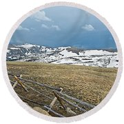 Split Rail Fence On East Side Of Trail Ridge Road In Rocky Mountain National Park-colorado Round Beach Towel