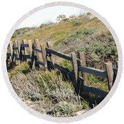 Split Rail Fence Yellow Round Beach Towel by Barbara Snyder